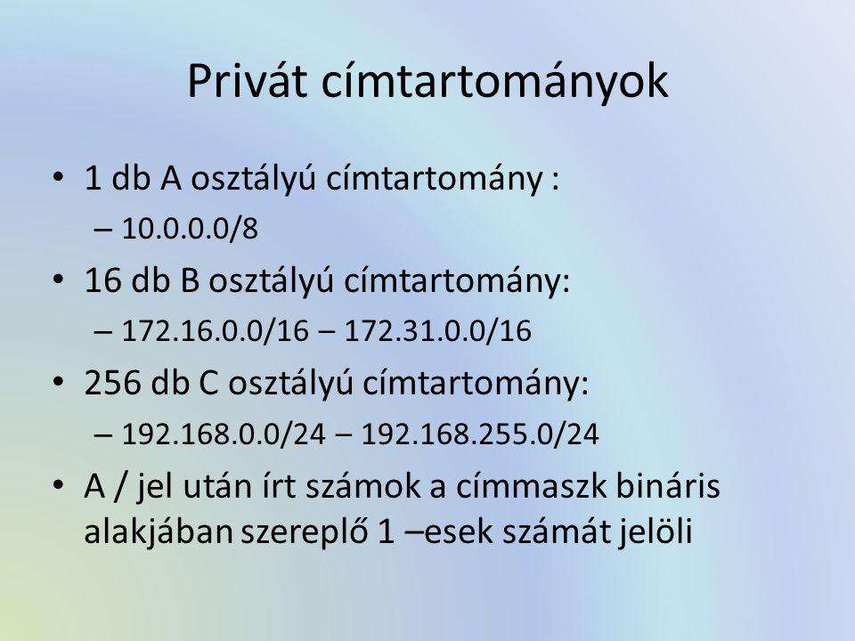 Privát címtartományok 1 db A osztályú címtartomány : – 10.0.0.0/8 16 db B osztályú címtartomány: – 172.16.0.0/16 – 172.31.0.0/16 256 db C osztályú cím