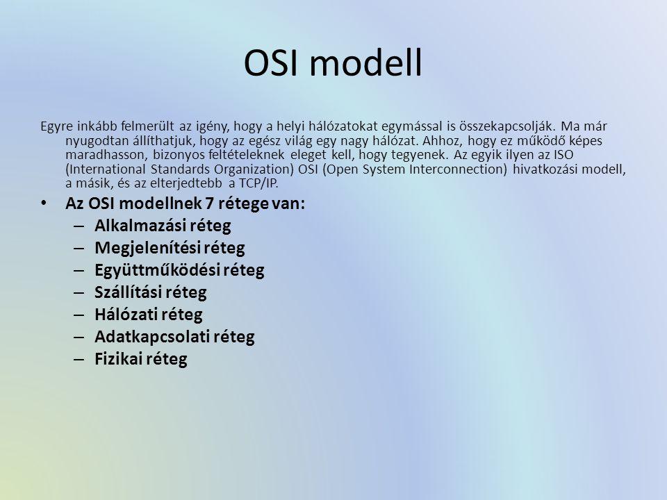 OSI modell Egyre inkább felmerült az igény, hogy a helyi hálózatokat egymással is összekapcsolják. Ma már nyugodtan állíthatjuk, hogy az egész világ e
