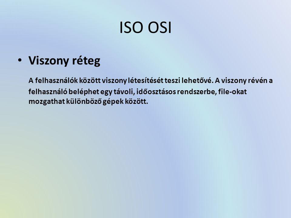 ISO OSI Viszony réteg A felhasználók között viszony létesítését teszi lehetővé. A viszony révén a felhasználó beléphet egy távoli, időosztásos rendsze