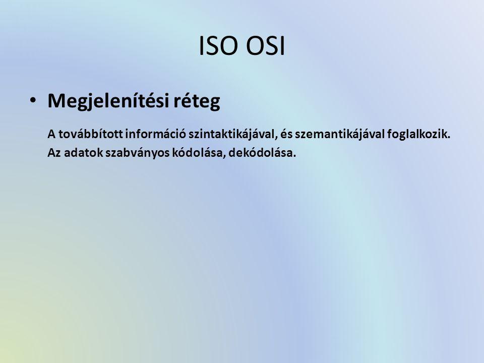 ISO OSI Megjelenítési réteg A továbbított információ szintaktikájával, és szemantikájával foglalkozik. Az adatok szabványos kódolása, dekódolása.