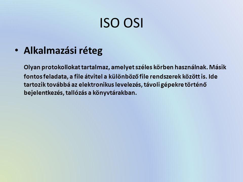 ISO OSI Alkalmazási réteg Olyan protokollokat tartalmaz, amelyet széles körben használnak. Másik fontos feladata, a file átvitel a különböző file rend
