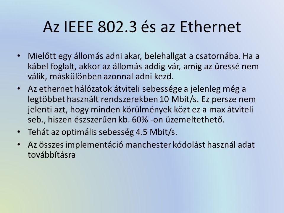 Az IEEE 802.3 és az Ethernet Mielőtt egy állomás adni akar, belehallgat a csatornába. Ha a kábel foglalt, akkor az állomás addig vár, amíg az üressé n