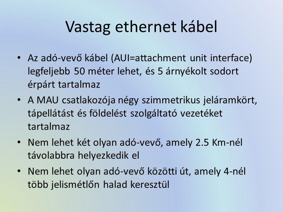 Vastag ethernet kábel Az adó-vevő kábel (AUI=attachment unit interface) legfeljebb 50 méter lehet, és 5 árnyékolt sodort érpárt tartalmaz A MAU csatlakozója négy szimmetrikus jeláramkört, tápellátást és földelést szolgáltató vezetéket tartalmaz Nem lehet két olyan adó-vevő, amely 2.5 Km-nél távolabbra helyezkedik el Nem lehet olyan adó-vevő közötti út, amely 4-nél több jelismétlőn halad keresztül