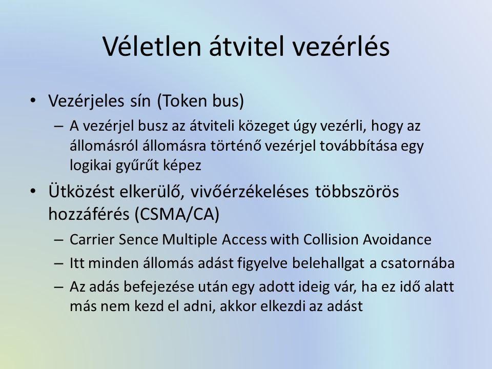 Véletlen átvitel vezérlés Vezérjeles sín (Token bus) – A vezérjel busz az átviteli közeget úgy vezérli, hogy az állomásról állomásra történő vezérjel továbbítása egy logikai gyűrűt képez Ütközést elkerülő, vivőérzékeléses többszörös hozzáférés (CSMA/CA) – Carrier Sence Multiple Access with Collision Avoidance – Itt minden állomás adást figyelve belehallgat a csatornába – Az adás befejezése után egy adott ideig vár, ha ez idő alatt más nem kezd el adni, akkor elkezdi az adást