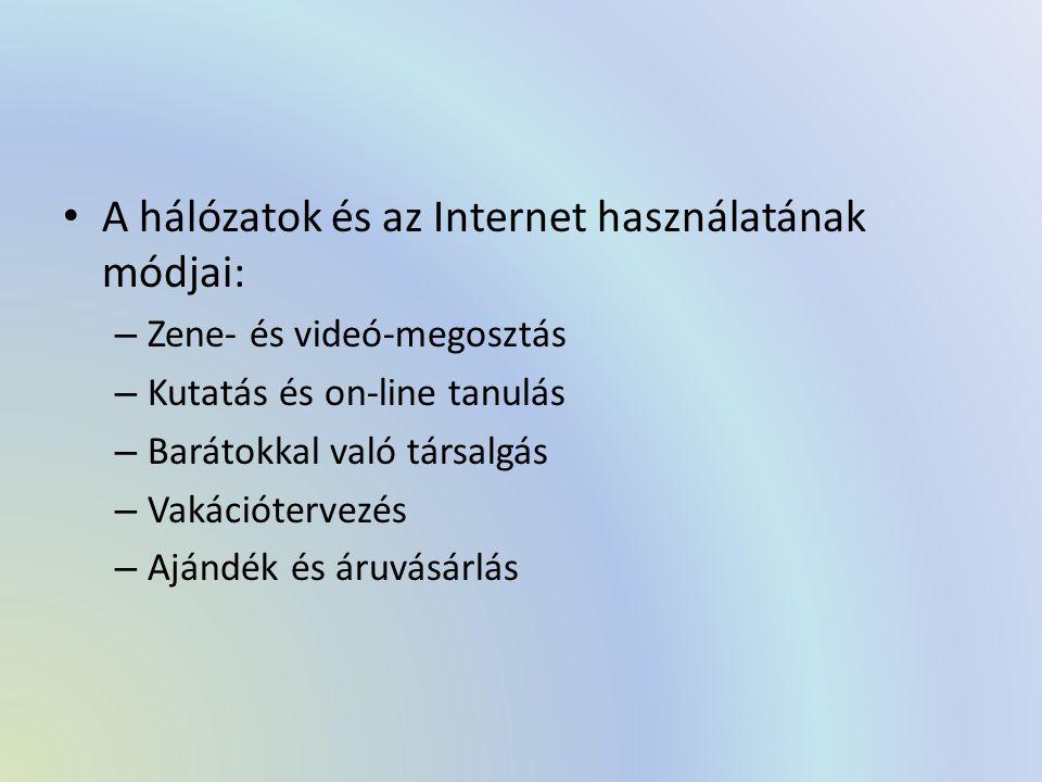 A hálózatok és az Internet használatának módjai: – Zene- és videó-megosztás – Kutatás és on-line tanulás – Barátokkal való társalgás – Vakációtervezés – Ajándék és áruvásárlás