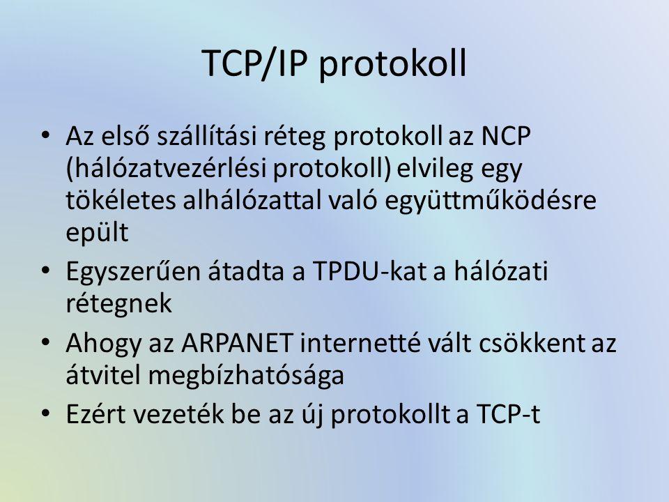 TCP/IP protokoll Az első szállítási réteg protokoll az NCP (hálózatvezérlési protokoll) elvileg egy tökéletes alhálózattal való együttműködésre epült Egyszerűen átadta a TPDU-kat a hálózati rétegnek Ahogy az ARPANET internetté vált csökkent az átvitel megbízhatósága Ezért vezeték be az új protokollt a TCP-t