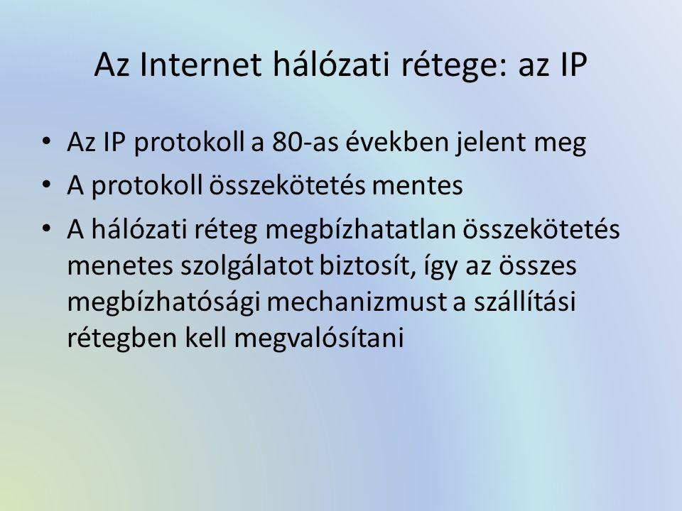 Az Internet hálózati rétege: az IP Az IP protokoll a 80-as években jelent meg A protokoll összekötetés mentes A hálózati réteg megbízhatatlan összekötetés menetes szolgálatot biztosít, így az összes megbízhatósági mechanizmust a szállítási rétegben kell megvalósítani