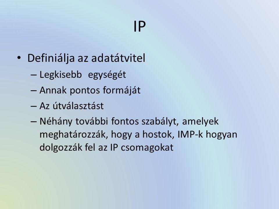 IP Definiálja az adatátvitel – Legkisebb egységét – Annak pontos formáját – Az útválasztást – Néhány további fontos szabályt, amelyek meghatározzák, hogy a hostok, IMP-k hogyan dolgozzák fel az IP csomagokat