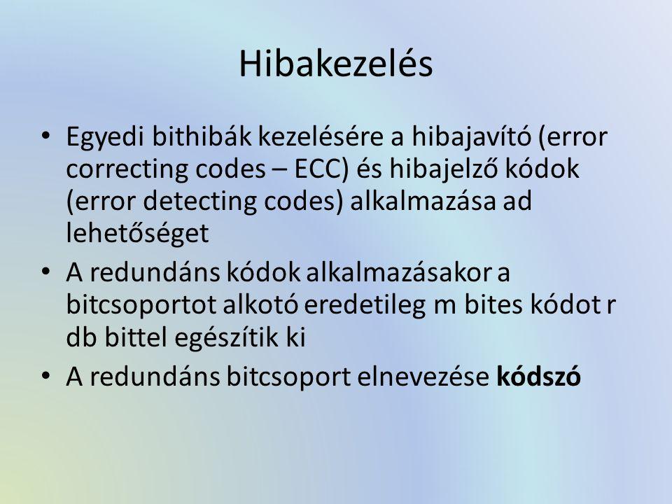 Hibakezelés Egyedi bithibák kezelésére a hibajavító (error correcting codes – ECC) és hibajelző kódok (error detecting codes) alkalmazása ad lehetőséget A redundáns kódok alkalmazásakor a bitcsoportot alkotó eredetileg m bites kódot r db bittel egészítik ki A redundáns bitcsoport elnevezése kódszó