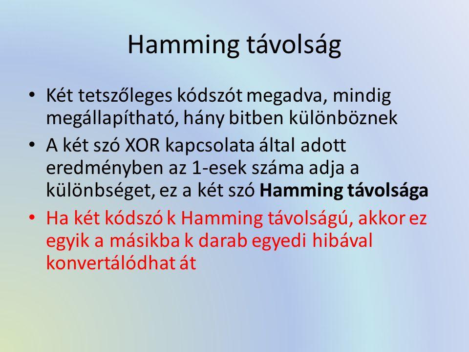 Hamming távolság Két tetszőleges kódszót megadva, mindig megállapítható, hány bitben különböznek A két szó XOR kapcsolata által adott eredményben az 1-esek száma adja a különbséget, ez a két szó Hamming távolsága Ha két kódszó k Hamming távolságú, akkor ez egyik a másikba k darab egyedi hibával konvertálódhat át