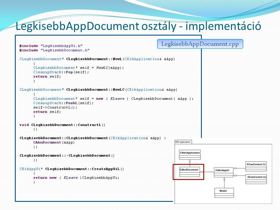 LegkisebbAppDocument osztály - implementáció LegkisebbAppDocument.cpp