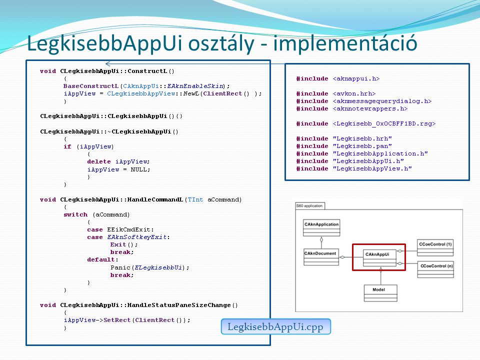 LegkisebbAppUi osztály - implementáció LegkisebbAppUi.cpp