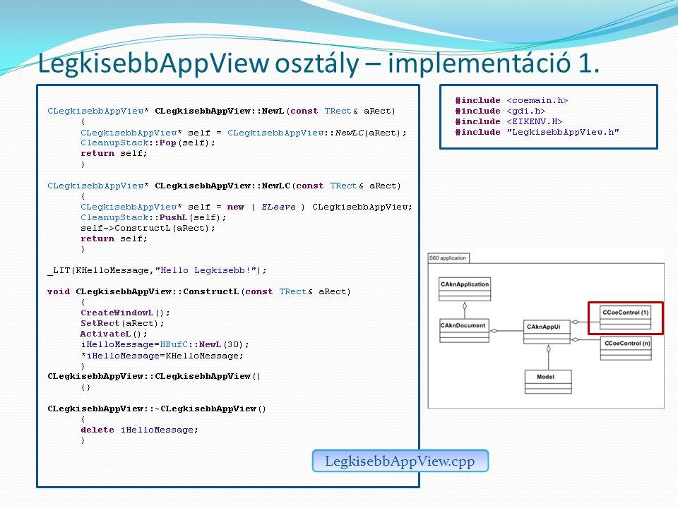 LegkisebbAppView osztály – implementáció 1. LegkisebbAppView.cpp