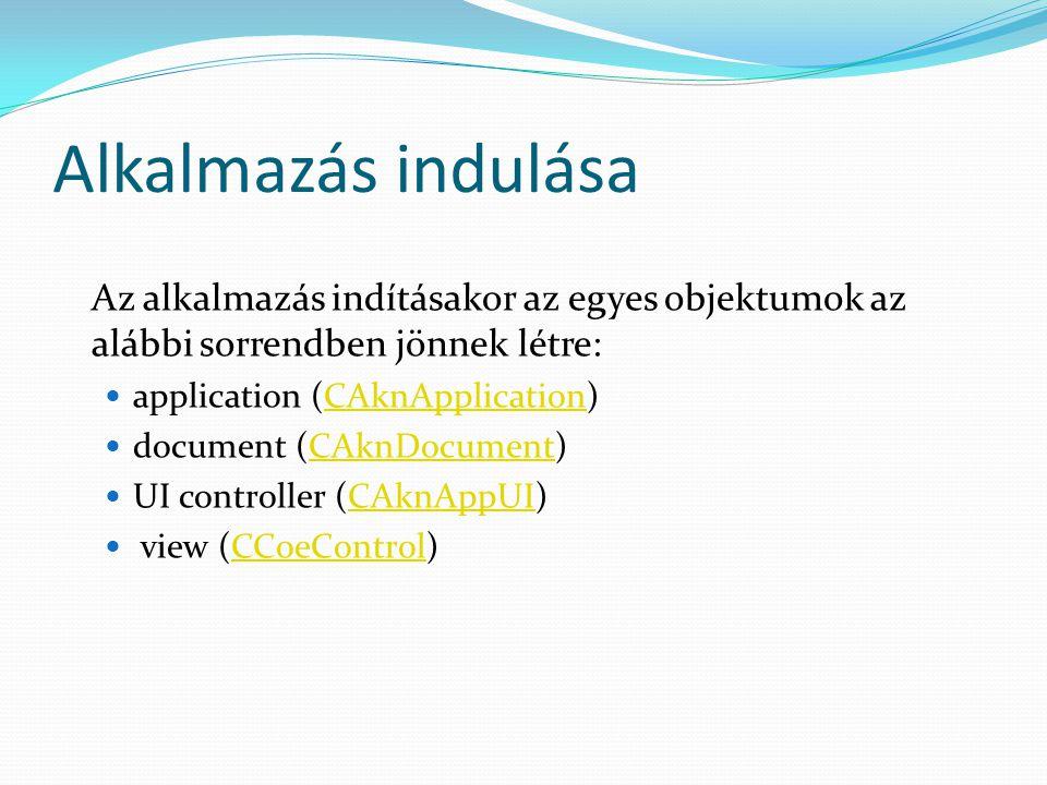 Alkalmazás indulása Az alkalmazás indításakor az egyes objektumok az alábbi sorrendben jönnek létre: application (CAknApplication)CAknApplication document (CAknDocument)CAknDocument UI controller (CAknAppUI)CAknAppUI view (CCoeControl)CCoeControl