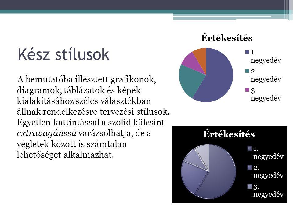 Kész stílusok A bemutatóba illesztett grafikonok, diagramok, táblázatok és képek kialakításához széles választékban állnak rendelkezésre tervezési stí