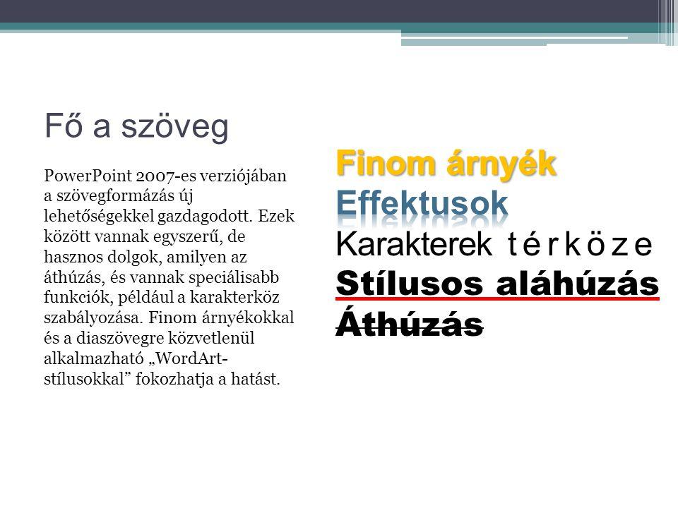 Fő a szöveg PowerPoint 2007-es verziójában a szövegformázás új lehetőségekkel gazdagodott. Ezek között vannak egyszerű, de hasznos dolgok, amilyen az