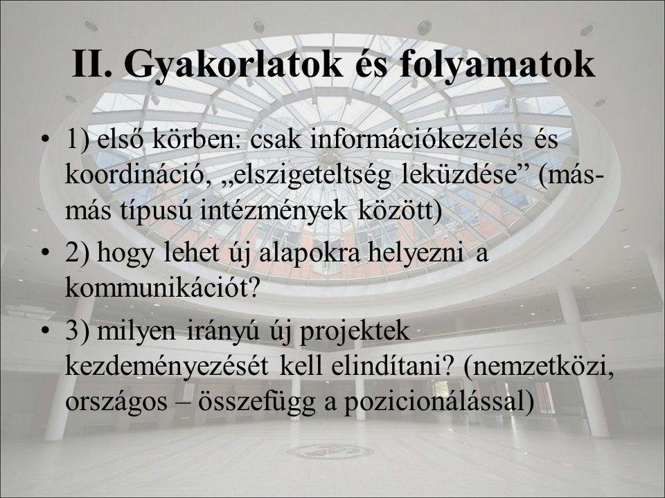 """II. Gyakorlatok és folyamatok 1) első körben: csak információkezelés és koordináció, """"elszigeteltség leküzdése"""" (más- más típusú intézmények között) 2"""