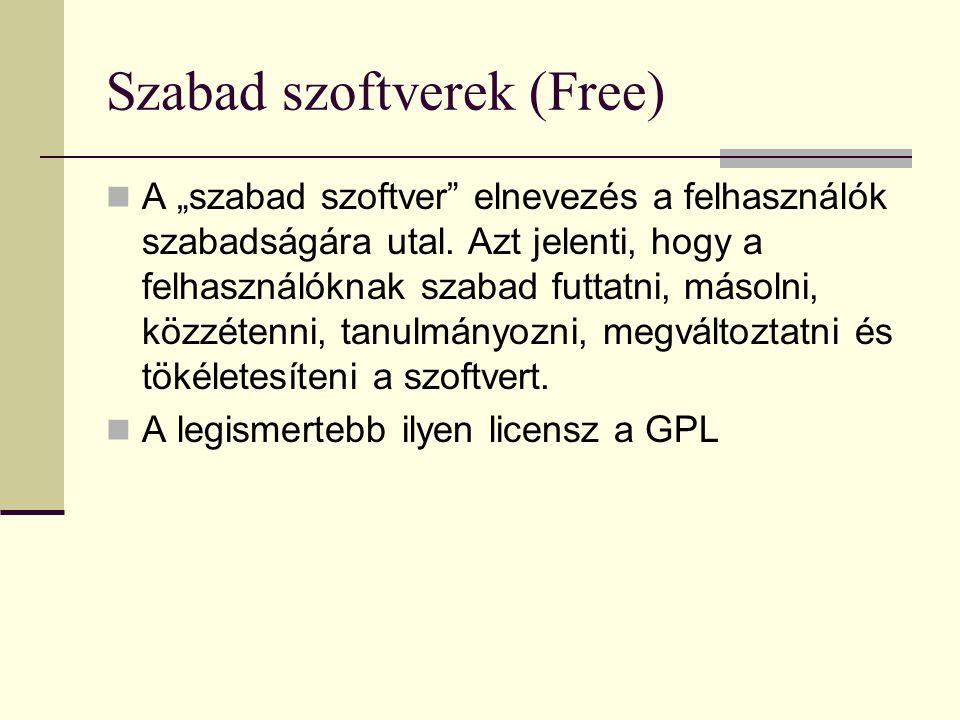 """Szabad szoftverek (Free) A """"szabad szoftver"""" elnevezés a felhasználók szabadságára utal. Azt jelenti, hogy a felhasználóknak szabad futtatni, másolni,"""