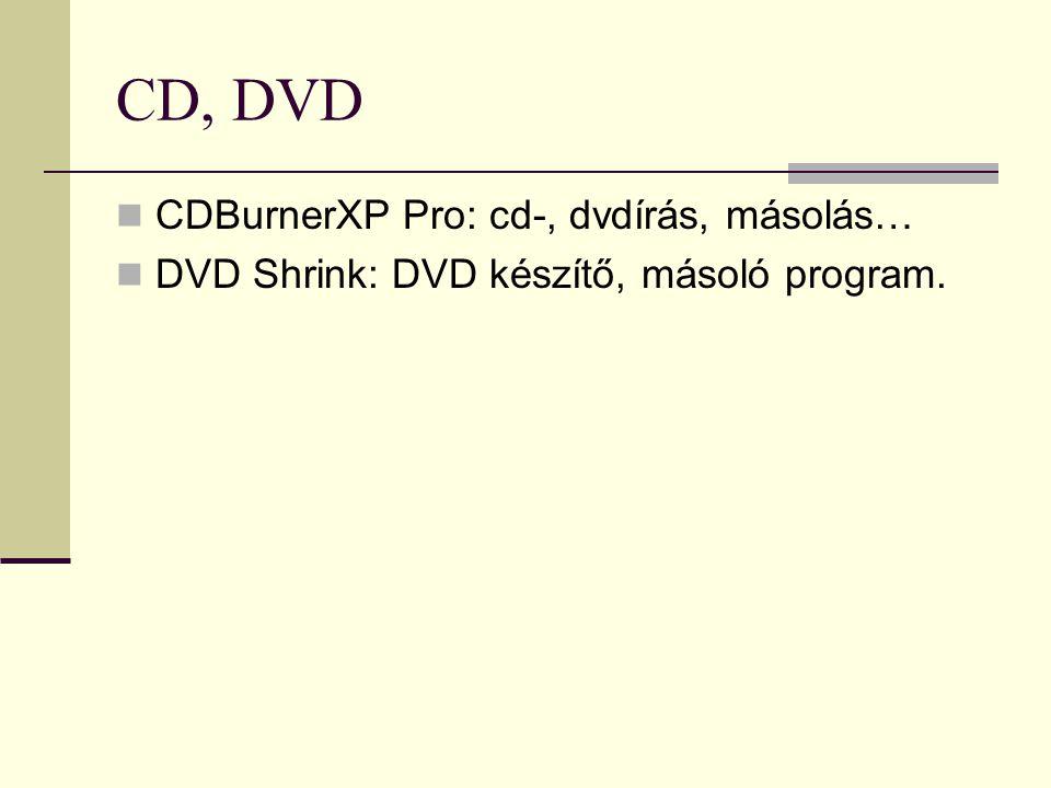 CD, DVD CDBurnerXP Pro: cd-, dvdírás, másolás… DVD Shrink: DVD készítő, másoló program.