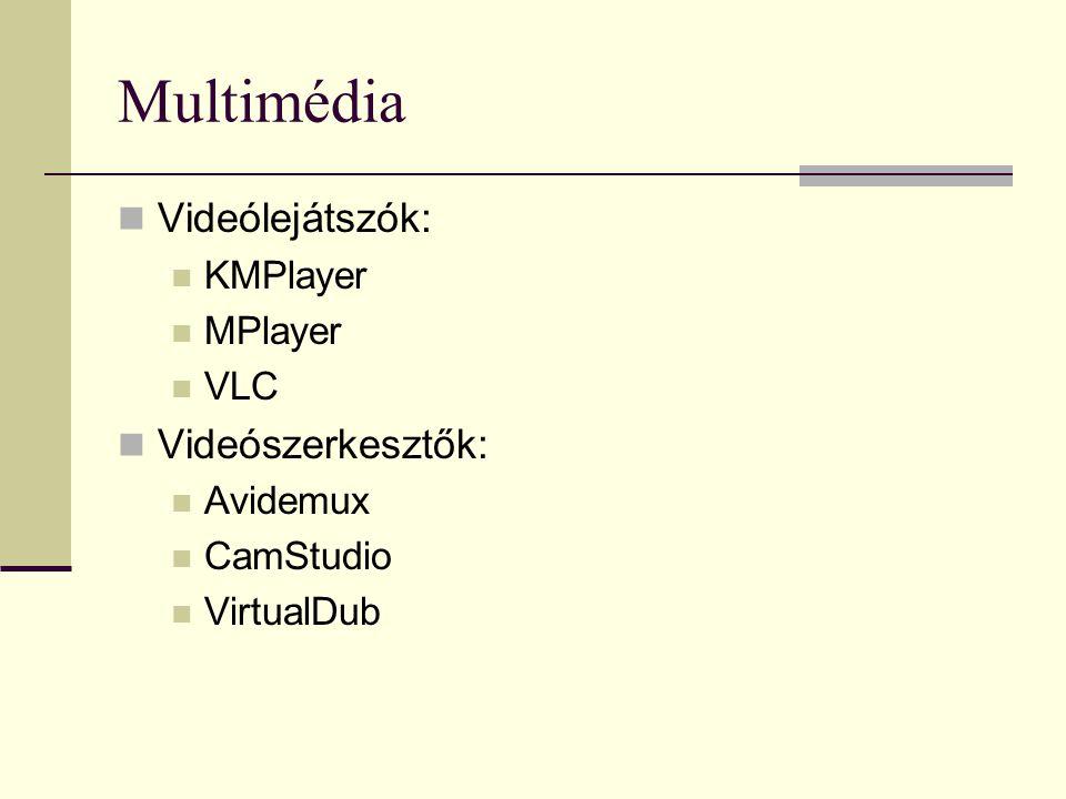 Multimédia Videólejátszók: KMPlayer MPlayer VLC Videószerkesztők: Avidemux CamStudio VirtualDub
