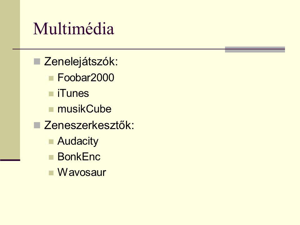Multimédia Zenelejátszók: Foobar2000 iTunes musikCube Zeneszerkesztők: Audacity BonkEnc Wavosaur