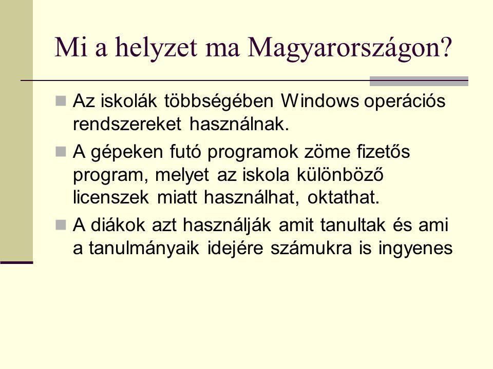 Mi a helyzet ma Magyarországon? Az iskolák többségében Windows operációs rendszereket használnak. A gépeken futó programok zöme fizetős program, melye