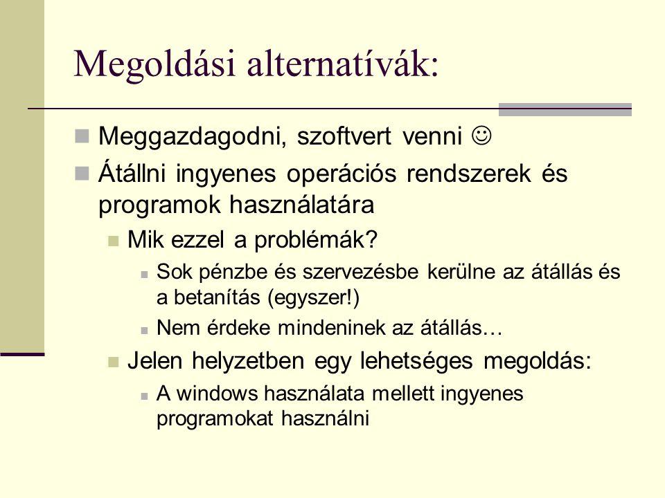 Megoldási alternatívák: Meggazdagodni, szoftvert venni Átállni ingyenes operációs rendszerek és programok használatára Mik ezzel a problémák? Sok pénz