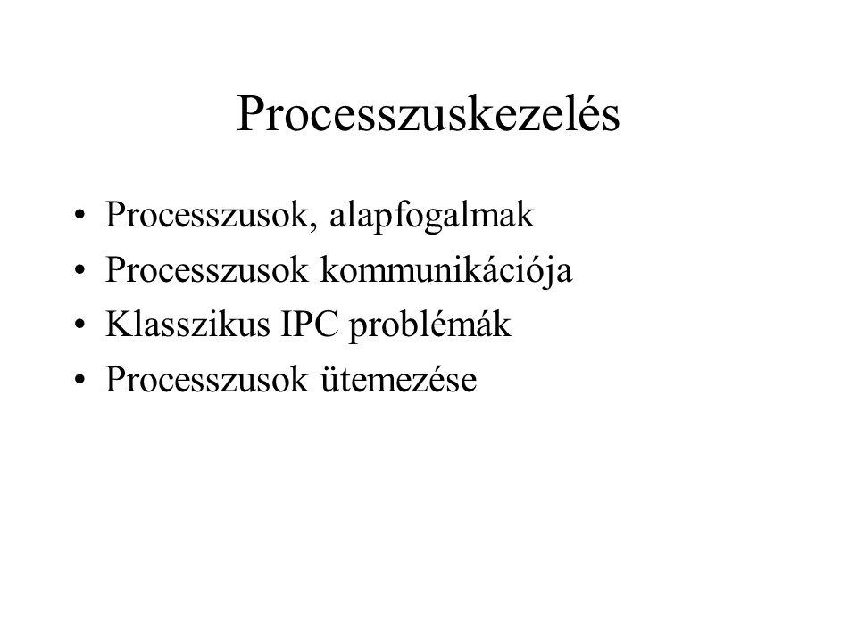 Processzusok kommunikációja Kölcsönös kizárás tevékeny várakozással Szigorú váltogatás Megoldás Egy javasolt, C nyelben iródott megoldás a turn változó használatára: while (TRUE) { while (turn!=0) /*várakozás*/; critical_region(); turn=1; noncritical_region(); } while (TRUE) { while (turn!=1) /* várakozás */; critical_region(); turn=0; noncritical_region(); }