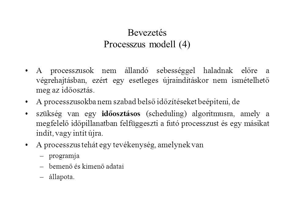 Bevezetés Processzus modell (4) A processzusok nem állandó sebességgel haladnak előre a végrehajtásban, ezért egy esetleges újraindításkor nem ismételhető meg az időosztás.