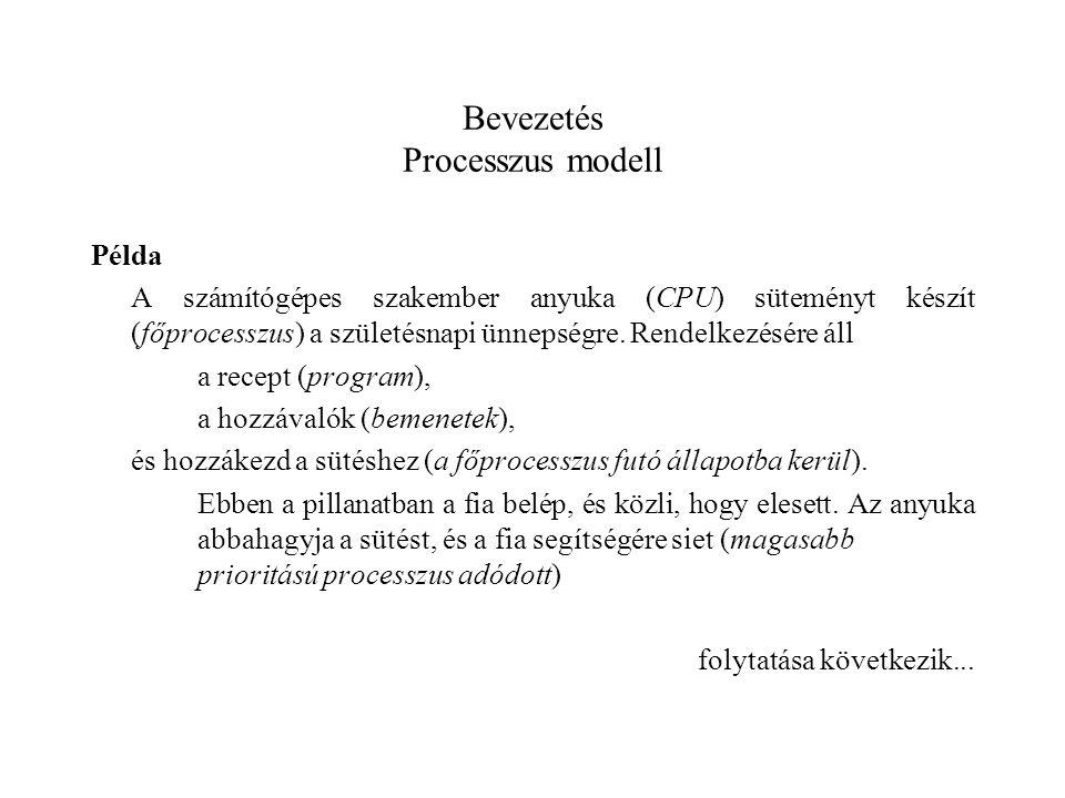 Bevezetés Processzus modell Példa A számítógépes szakember anyuka (CPU) süteményt készít (főprocesszus) a születésnapi ünnepségre.