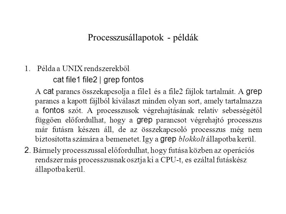 Processzusállapotok - példák 1.