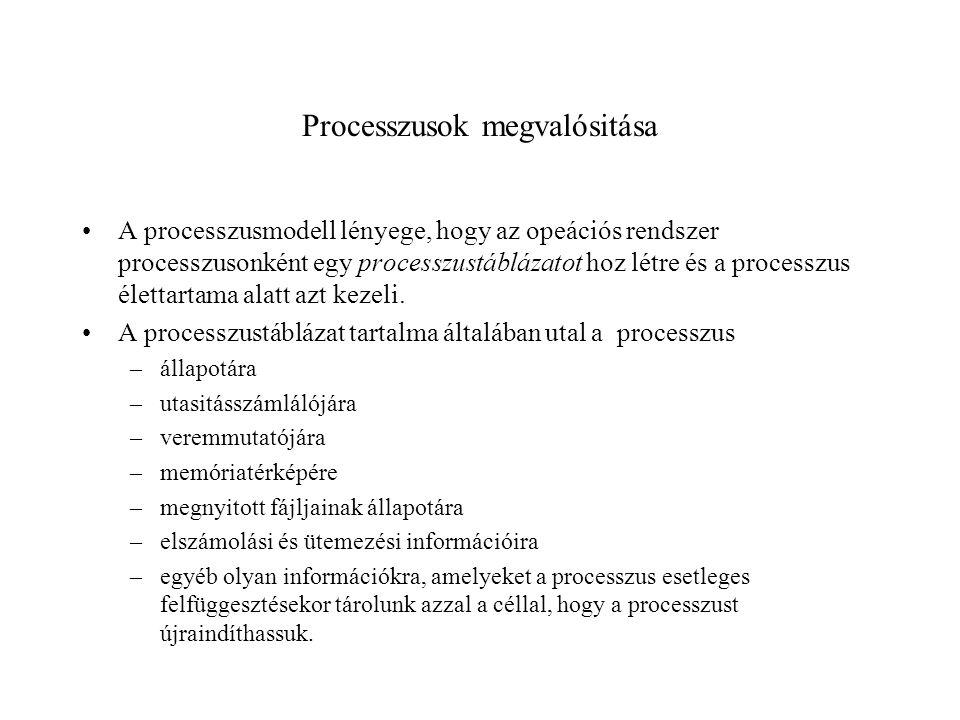 Processzusok megvalósitása A processzusmodell lényege, hogy az opeációs rendszer processzusonként egy processzustáblázatot hoz létre és a processzus élettartama alatt azt kezeli.