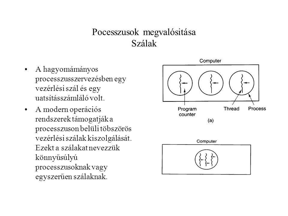 Pocesszusok megvalósitása Szálak A hagyomámányos processzusszervezésben egy vezérlési szál és egy uatsításszámláló volt.