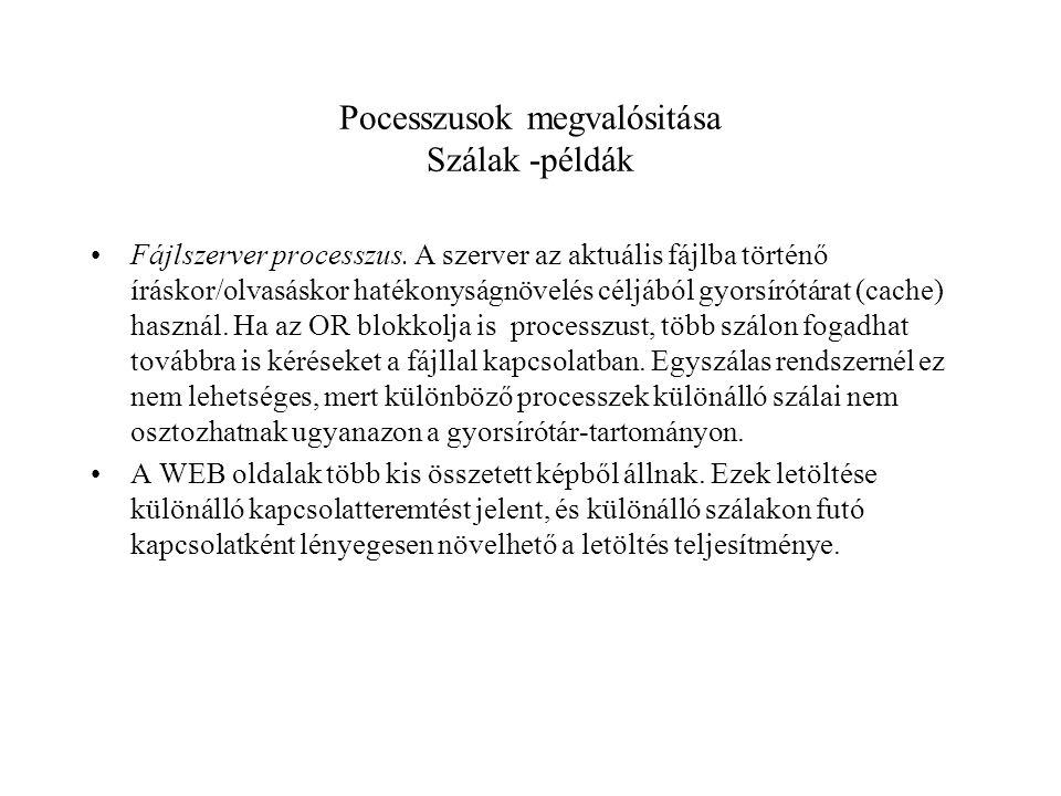 Pocesszusok megvalósitása Szálak -példák Fájlszerver processzus.