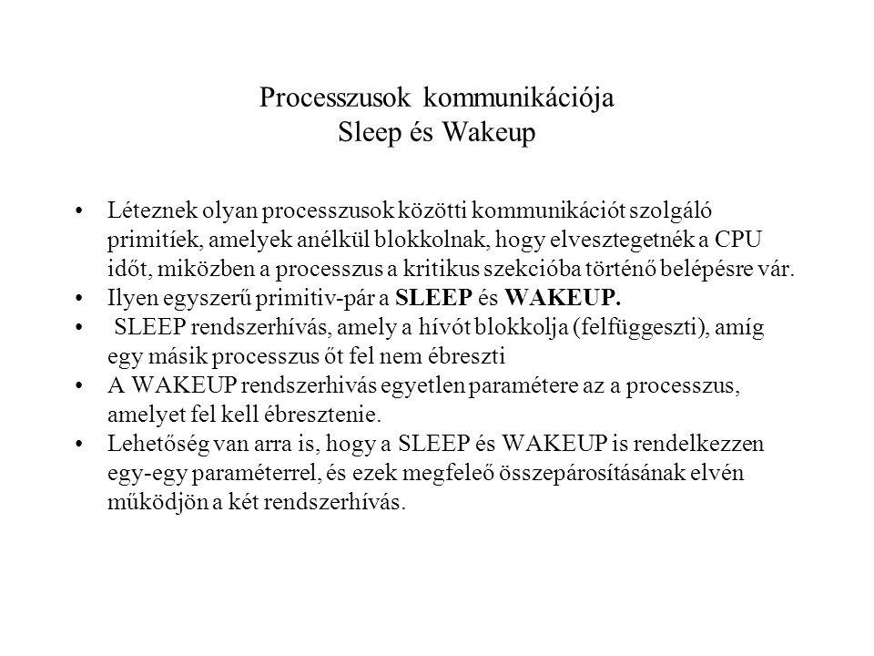 Processzusok kommunikációja Sleep és Wakeup Léteznek olyan processzusok közötti kommunikációt szolgáló primitíek, amelyek anélkül blokkolnak, hogy elvesztegetnék a CPU időt, miközben a processzus a kritikus szekcióba történő belépésre vár.