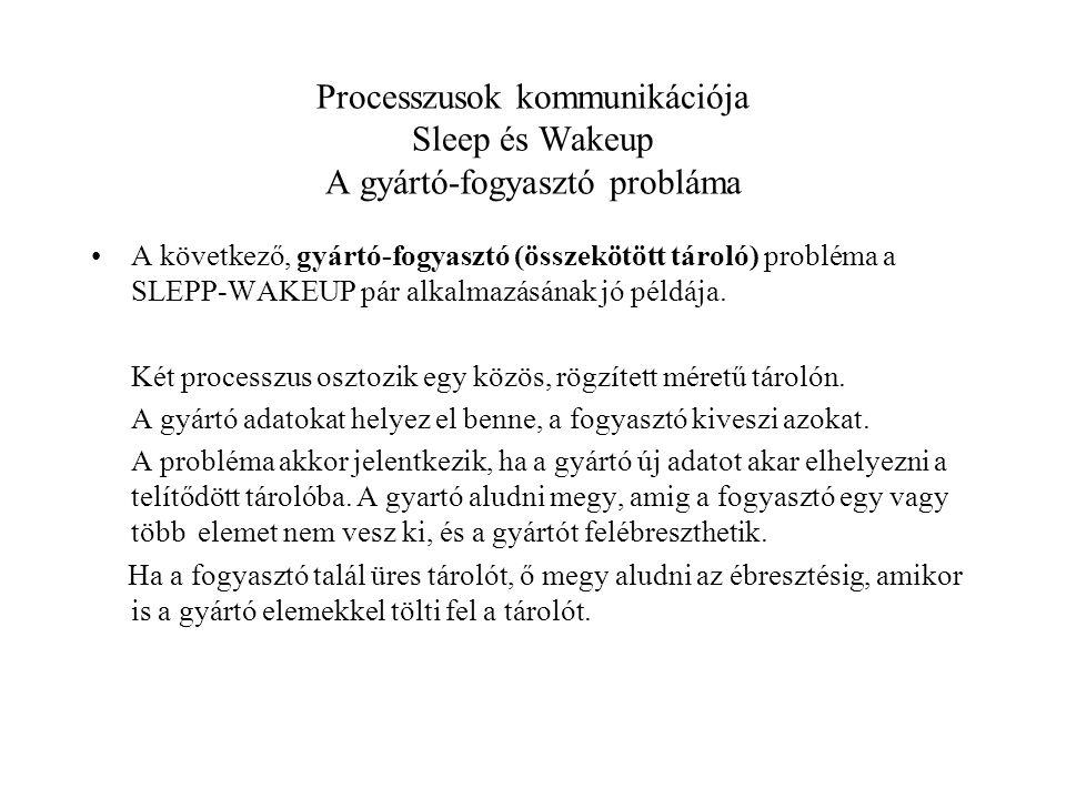 Processzusok kommunikációja Sleep és Wakeup A gyártó-fogyasztó probláma A következő, gyártó-fogyasztó (összekötött tároló) probléma a SLEPP-WAKEUP pár alkalmazásának jó példája.