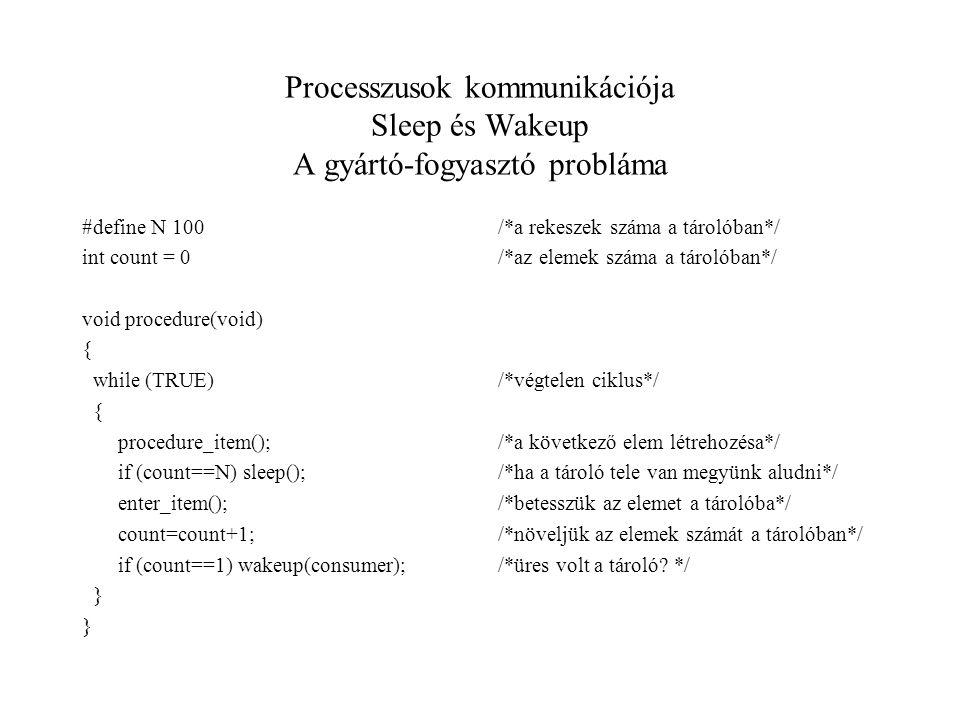Processzusok kommunikációja Sleep és Wakeup A gyártó-fogyasztó probláma #define N 100 int count = 0 void procedure(void) { while (TRUE) { procedure_item(); if (count==N) sleep(); enter_item(); count=count+1; if (count==1) wakeup(consumer); } /*a rekeszek száma a tárolóban*/ /*az elemek száma a tárolóban*/ /*végtelen ciklus*/ /*a következő elem létrehozésa*/ /*ha a tároló tele van megyünk aludni*/ /*betesszük az elemet a tárolóba*/ /*növeljük az elemek számát a tárolóban*/ /*üres volt a tároló.