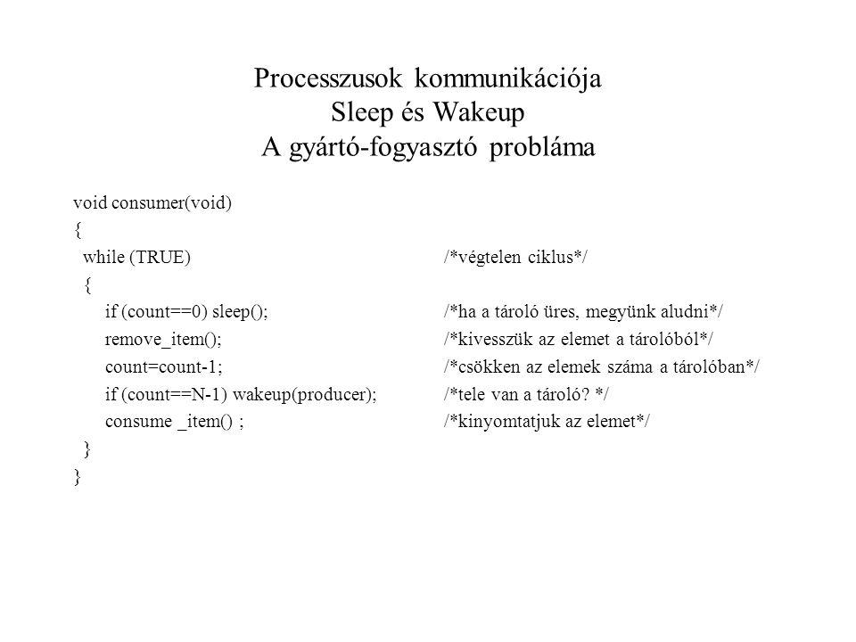 Processzusok kommunikációja Sleep és Wakeup A gyártó-fogyasztó probláma void consumer(void) { while (TRUE) { if (count==0) sleep(); remove_item(); count=count-1; if (count==N-1) wakeup(producer); consume _item() ; } /*végtelen ciklus*/ /*ha a tároló üres, megyünk aludni*/ /*kivesszük az elemet a tárolóból*/ /*csökken az elemek száma a tárolóban*/ /*tele van a tároló.