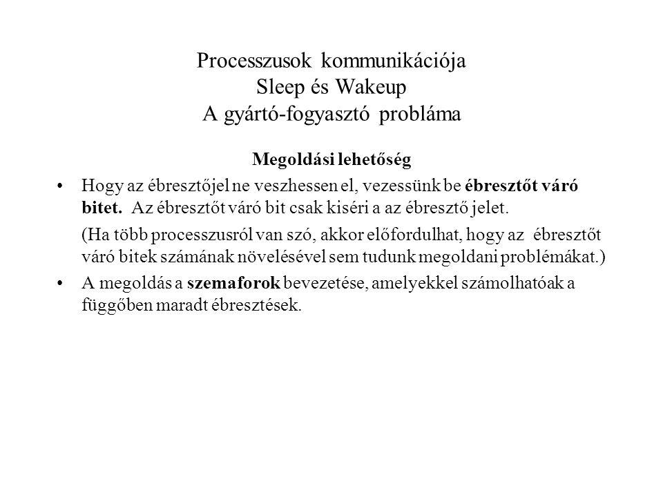 Processzusok kommunikációja Sleep és Wakeup A gyártó-fogyasztó probláma Megoldási lehetőség Hogy az ébresztőjel ne veszhessen el, vezessünk be ébresztőt váró bitet.