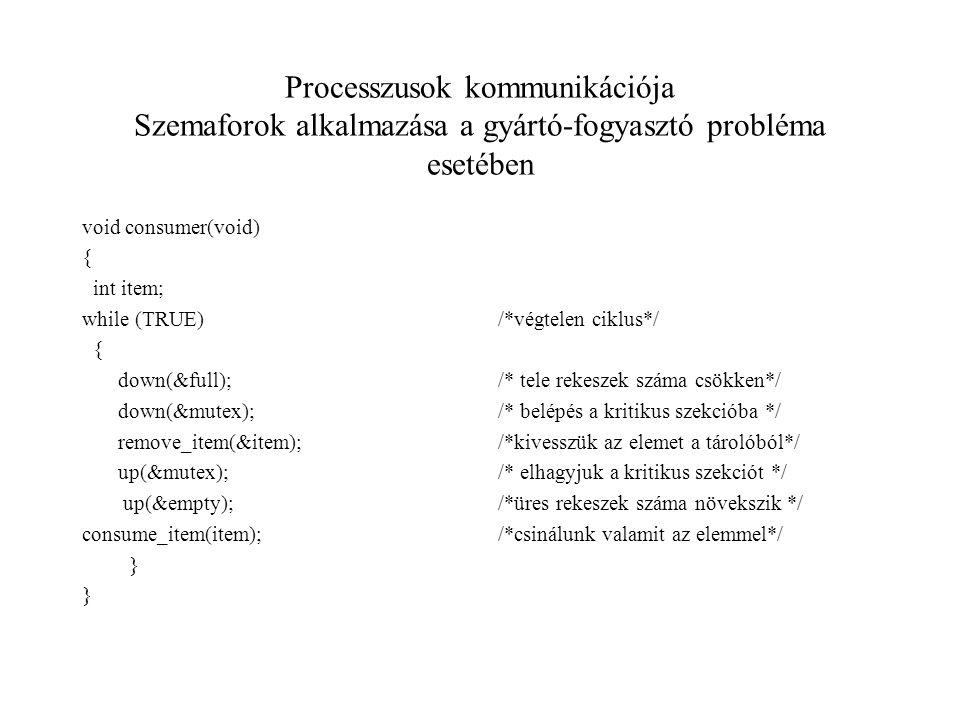Processzusok kommunikációja Szemaforok alkalmazása a gyártó-fogyasztó probléma esetében void consumer(void) { int item; while (TRUE) { down(&full); down(&mutex); remove_item(&item); up(&mutex); up(&empty); consume_item(item); } /*végtelen ciklus*/ /* tele rekeszek száma csökken*/ /* belépés a kritikus szekcióba */ /*kivesszük az elemet a tárolóból*/ /* elhagyjuk a kritikus szekciót */ /*üres rekeszek száma növekszik */ /*csinálunk valamit az elemmel*/