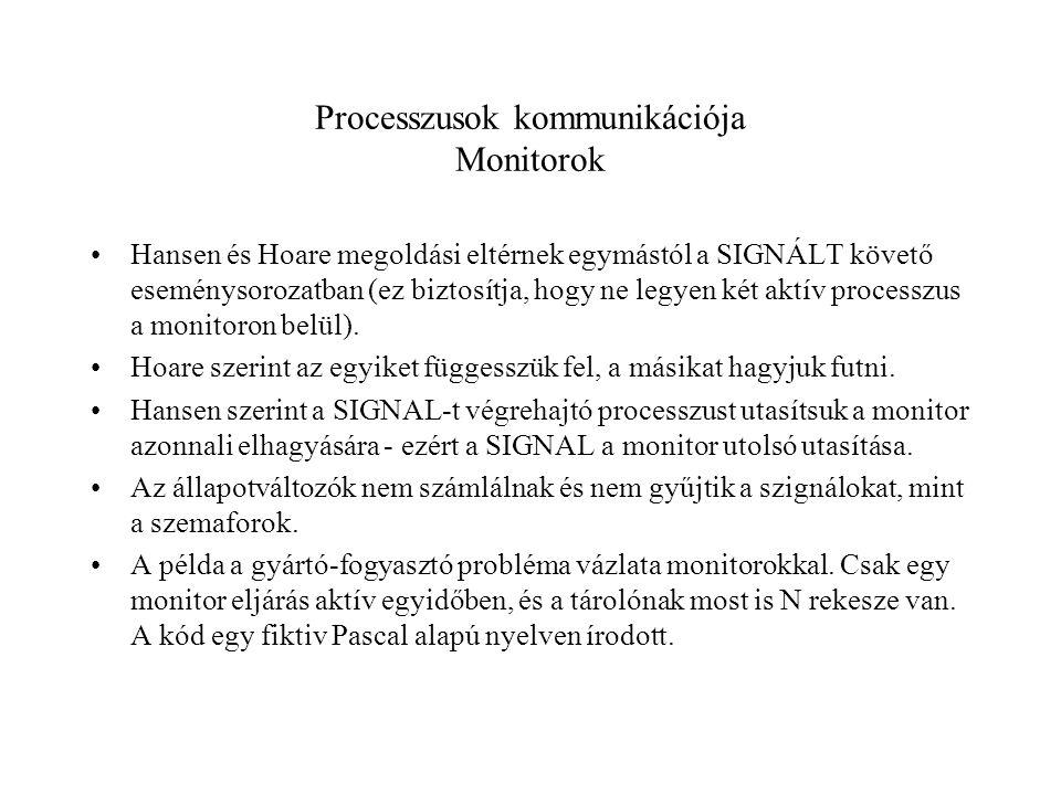 Processzusok kommunikációja Monitorok Hansen és Hoare megoldási eltérnek egymástól a SIGNÁLT követő eseménysorozatban (ez biztosítja, hogy ne legyen két aktív processzus a monitoron belül).