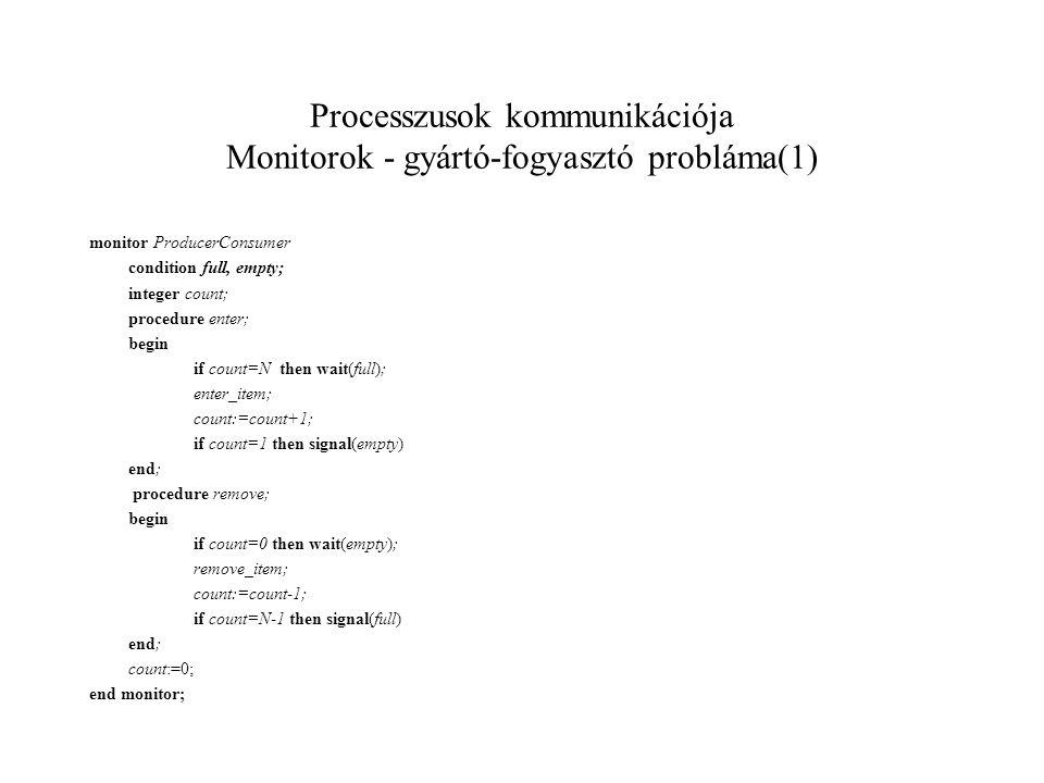 Processzusok kommunikációja Monitorok - gyártó-fogyasztó probláma(1) monitor ProducerConsumer condition full, empty; integer count; procedure enter; begin if count=N then wait(full); enter_item; count:=count+1; if count=1 then signal(empty) end; procedure remove; begin if count=0 then wait(empty); remove_item; count:=count-1; if count=N-1 then signal(full) end; count:=0; end monitor;