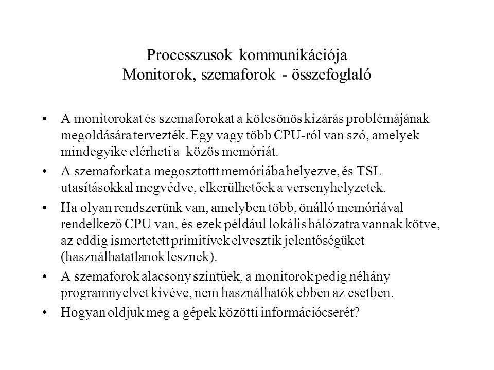 Processzusok kommunikációja Monitorok, szemaforok - összefoglaló A monitorokat és szemaforokat a kölcsönös kizárás problémájának megoldására tervezték.