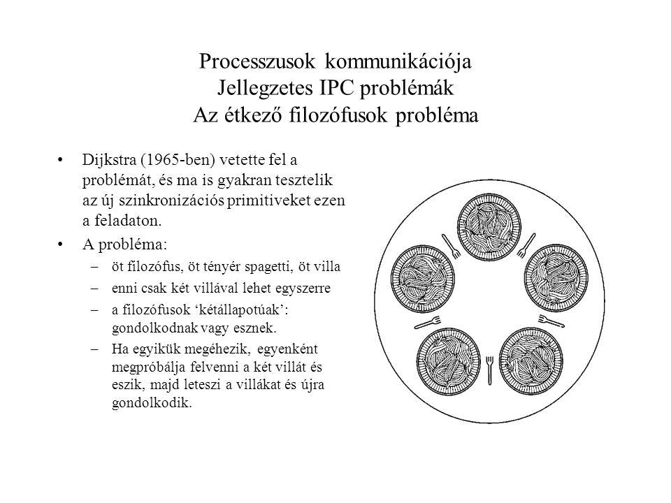 Processzusok kommunikációja Jellegzetes IPC problémák Az étkező filozófusok probléma Dijkstra (1965-ben) vetette fel a problémát, és ma is gyakran tesztelik az új szinkronizációs primitiveket ezen a feladaton.