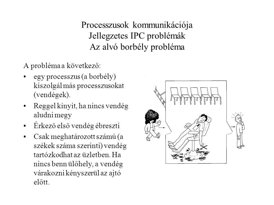 Processzusok kommunikációja Jellegzetes IPC problémák Az alvó borbély probléma A probléma a következő: egy processzus (a borbély) kiszolgál más processzusokat (vendégek).