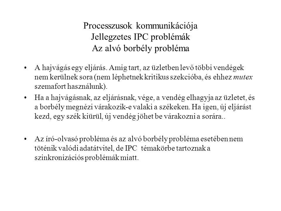 Processzusok kommunikációja Jellegzetes IPC problémák Az alvó borbély probléma A hajvágás egy eljárás.