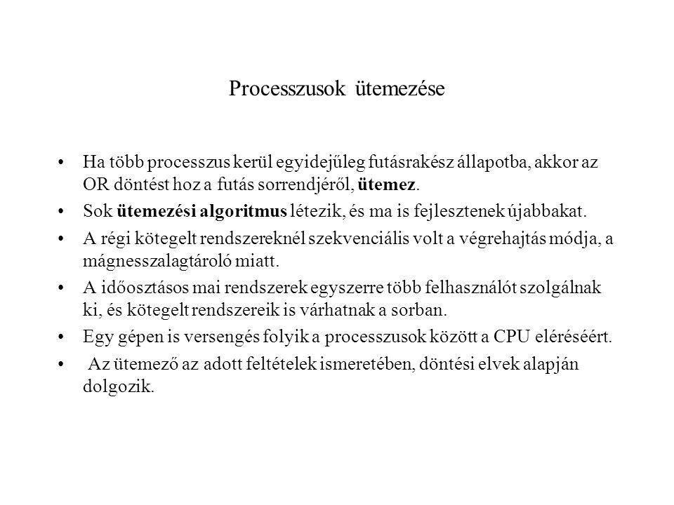 Processzusok ütemezése Ha több processzus kerül egyidejűleg futásrakész állapotba, akkor az OR döntést hoz a futás sorrendjéről, ütemez.