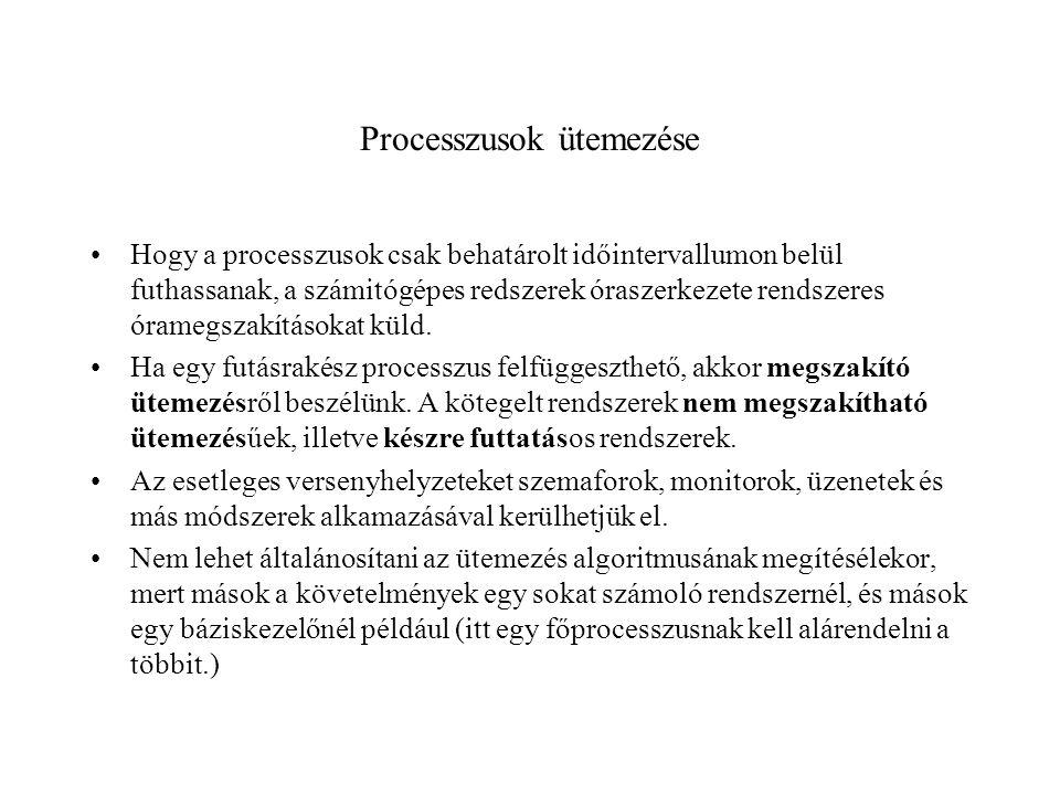 Processzusok ütemezése Hogy a processzusok csak behatárolt időintervallumon belül futhassanak, a számitógépes redszerek óraszerkezete rendszeres óramegszakításokat küld.