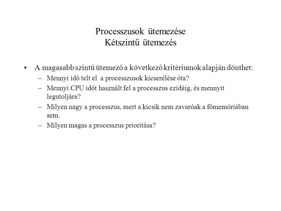 Processzusok ütemezése Kétszintű ütemezés A magasabb szintű ütemező a következő kritériumok alapján dönthet: –Mennyi idő telt el a processzusok kicserélése óta.