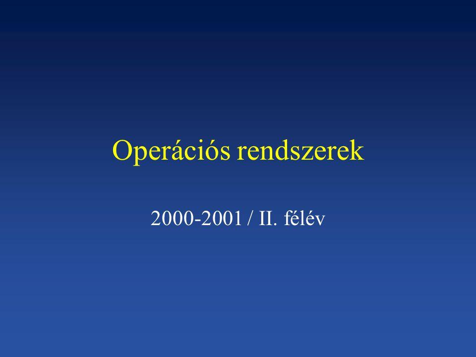Operációs rendszerek 2000-2001 / II. félév